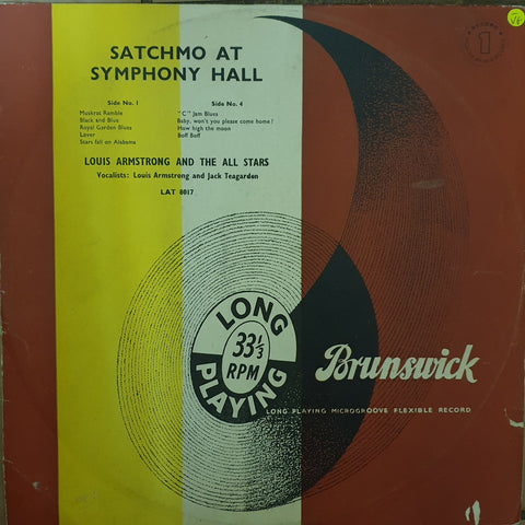 Louis Armstrong - Satchmo At Symphony Hall - Record 1  - Vinyl LP Record - Opened  - Very-Good- Quality (VG-)