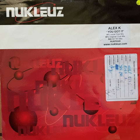 Alex K ‎– U Got It - Vinyl Record - Opened  - Very-Good Quality (VG)