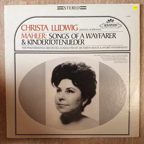 Christa Ludwig - Mahler - Philharmonia Orchestra, Sir Adrian Boult, André Vandernoot ‎– Songs Of A Wayfarer & Kindertotenlieder ‎- Vinyl LP Record - Very-Good+ Quality (VG+)