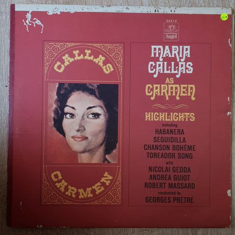 Maria Callas, Nicolai Gedda, Andréa Guiot, Robert Massard Conducted By Georges Prêtre ‎– Carmen Highlights ‎- Vinyl LP Record - Very-Good+ Quality (VG+)