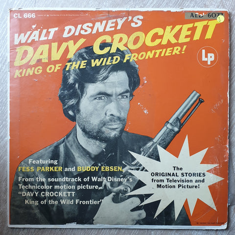 Walt Disney's - Davy Crockett - Fess Parker And Buddy Ebsen - Davy Crockett King Of The Wild Frontier - Vinyl LP Record - Opened  - Good Quality (G)