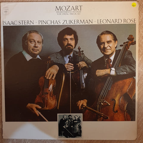 Mozart -Isaac Stern · Pinchas Zukerman · Leonard Rose - Divertimento In E-flat For String Trio, K. 563 -  Vinyl LP Record - Very-Good+ Quality (VG+)