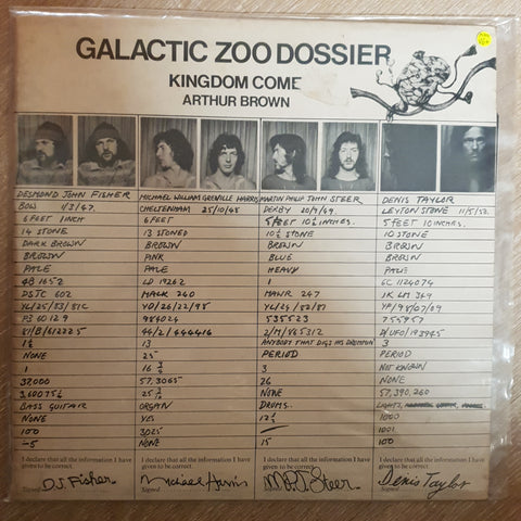 Kingdom Come Arthur Brown ‎– Galactic Zoo Dossier (with Poster) - Vinyl LP - Opened  - Very-Good+ Quality (VG+)