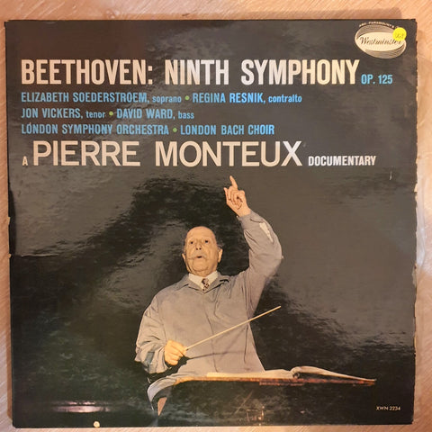 Pierre Monteux ‎– Beethoven: Symphony No. 9, Opus 125  - Vinyl LP Record - Opened  - Very-Good+ Quality (VG+)