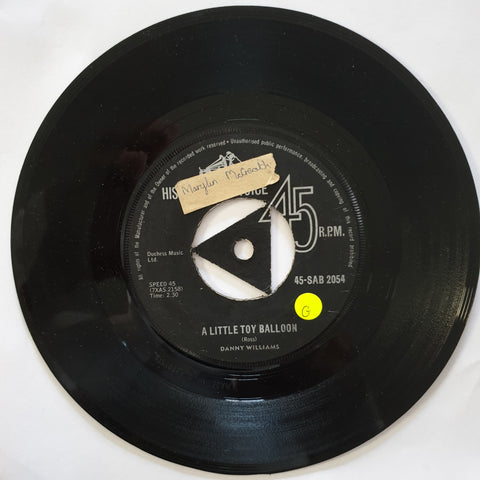 "Danny Williams ‎– A Little Toy Balloon / Now It Can Be Told - Vinyl 7"" Record - Opened  - Good+ Quality (G) - C-Plan Audio"
