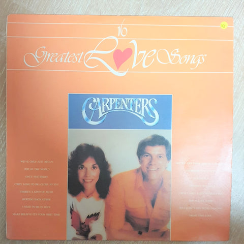 Carpenters - 16 Greatest Love Songs  - Opened - Vinyl LP Record  - Very-Good Quality (VG) - C-Plan Audio