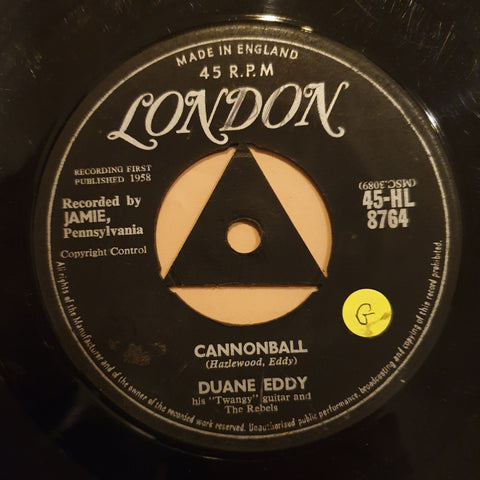 "Duane Eddy ‎– Cannonball - Vinyl 7"" Record - Opened  - Good Quality (G)"