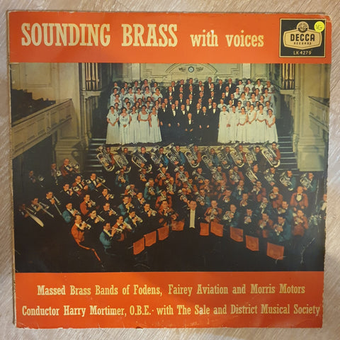 Massed Brass Bands Of Fodens, Fairey Aviation & Morris Motors, Harry Mortimer ‎– Sounding Brass with Voices - Vinyl LP - Opened  - Very-Good Quality (VG)
