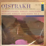 David Oistrakh, The Philadelphia Orchestra, Eugene Ormandy - Mendelssohn / Mozart ‎– Violin Concerto / Violin Concerto No. 4 (Rare Pressing)-  Vinyl LP Record - Very-Good+ Quality (VG+)