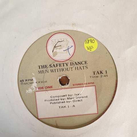 "Men Without Hats ‎– The Safety Dance - Vinyl 7"" Record - Opened  - Very-Good Quality (VG) - C-Plan Audio"