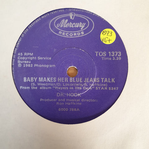 "Dr. Hook ‎– Baby Makes Her Blue Jeans Talk - Vinyl 7"" Record - Very-Good+ Quality (VG+) - C-Plan Audio"