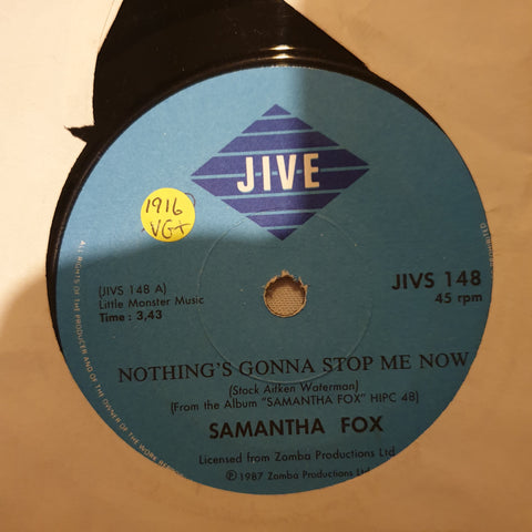 "Samantha Fox ‎– Nothing's Gonna Stop Me Now - Vinyl 7"" Record - Very-Good+ Quality (VG+) - C-Plan Audio"