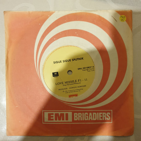 "Sigue Sigue Sputnik ‎– Love Missile F1-11  - Vinyl 7"" Record - Opened  - Very-Good Quality (VG) - C-Plan Audio"