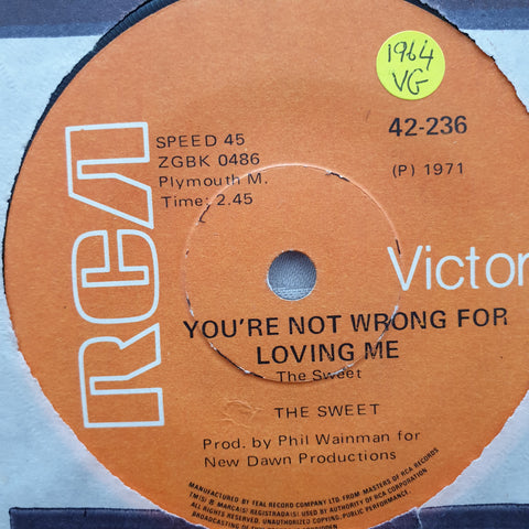 "The Sweet ‎– Funny Funny - Vinyl 7"" Record - Opened  - Very-Good Quality (VG) - C-Plan Audio"