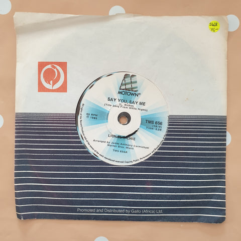 "Lionel Richie ‎– Say You, Say Me / Can't Slow Down - Vinyl 7"" Record - Very-Good- Quality (VG-) - C-Plan Audio"