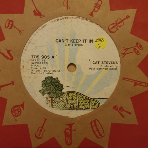 "Cat Stevens ‎– Can't Keep It In - Vinyl 7"" Record - Good Quality (G) - C-Plan Audio"