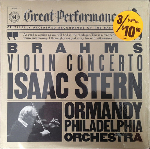 Brahms* / Isaac Stern, Eugene Ormandy, Philadelphia Orchestra* ‎– Violin Concerto In D Major - Opened Vinyl LP - Near Mint Condition - CPlan Audio