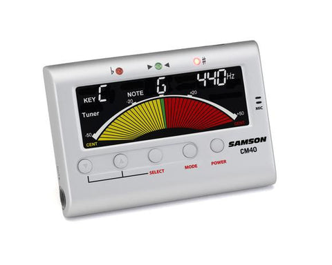 Samson CM40 Chromatic Tuner and Metronome for Guitars, Basses, Stringed, Woodwind or Brass Instruments