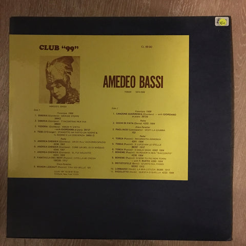 "Amedeo Bassi - ""Club 99"" - Vinyl LP Record - Opened  - Very-Good+ Quality (VG+) - C-Plan Audio"