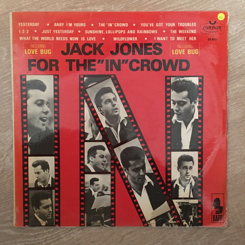 "Jack Jones ‎– For The ""In"" Crowd - Vinyl Opened  LP Record - Very-Good Quality (VG)"