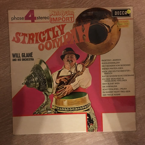 Will Glahe And His Orchestra ‎– Strictly Oompah - Vinyl LP Record - Opened  - Very-Good Quality (VG)
