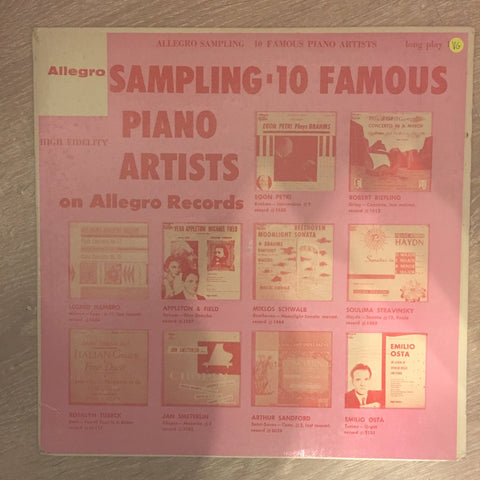 Allegro Sampling 10 Famous Piano Artists - Vinyl LP Record - Opened  - Very-Good Quality (VG)