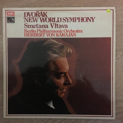 Dvořák / Smetana ; Berlin Philharmonic Orchestra, Herbert Von Karajan ‎– 'New World' Symphony / Vltava - Vinyl LP - Opened  - Very-Good+ Quality (VG+)