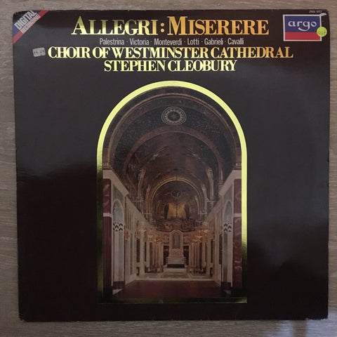 Allegri - Choir Of Westminster Cathedral, Stephen Cleobury ‎– Miserere ‎- Vinyl LP Record - Opened  - Very-Good+ Quality (VG+)