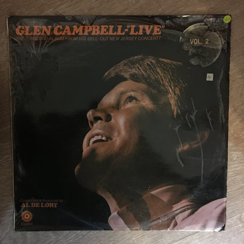 "Glen Campbell - ""Live""  Vol 2 - At His  at his New Jersey Concert  ‎- Vinyl LP Record - Opened  - Very-Good+ Quality (VG+) - C-Plan Audio"