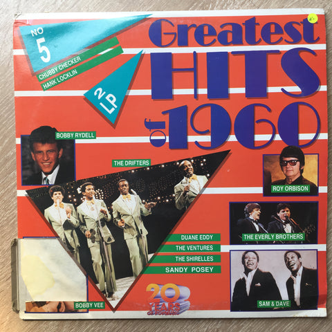 Greatest Hits Of 1960 - Original Artists -  Double Vinyl LP Record - Very-Good+ Quality (VG+) - C-Plan Audio