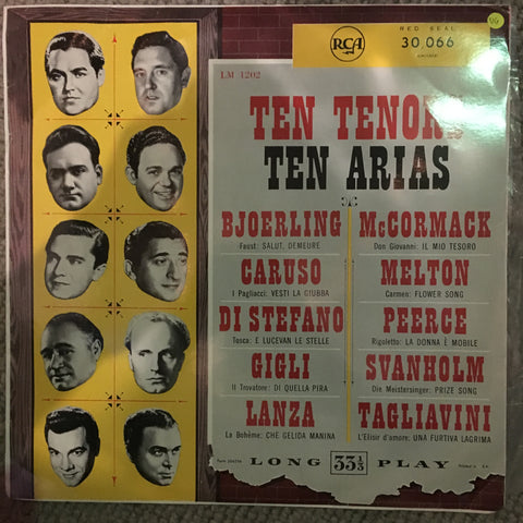 Ten Tenors Ten Arias - Vinyl LP Record - Opened  - Very-Good Quality (VG) - C-Plan Audio
