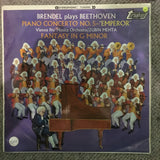 "Brendel Plays Beethoven, Vienna Pro Musica Orchestra / Zubin Mehta ‎– Piano Concerto No. 5 -""Emperor"" / Fantasy In G Minor - Vinyl LP Record - Opened  - Very-Good- Quality (VG-) - C-Plan Audio"