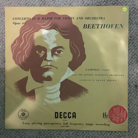 Beethoven - Campoli With The London Symphony Orchestra Conducted By Josef Krips ‎– Concerto In D Major For Violin And Orchestra Opus 61 - Vinyl LP Record - Opened  - Very-Good- Quality (VG-)
