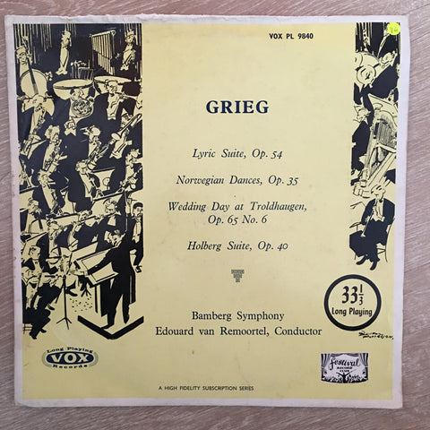 Grieg, Bamberg Symphony Orchestra, Edouard Van Remoortel ‎– Lyrics Suite, Op. 54 - Norwegian Dances, Op. 35 - Wedding Day At Troldhaugen, Op. 65 No. 6 - Holberg Suite, Op. 40 - Vinyl LP Record - Opened  - Very-Good Quality (VG)