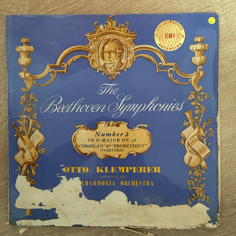 Beethoven - Otto Klemperer Conducting The Philharmonia Orchestra ‎– Symphony No. 2, Coriolan And Prometheus Overtures - Vinyl LP Record - Opened  - Very-Good Quality (VG)