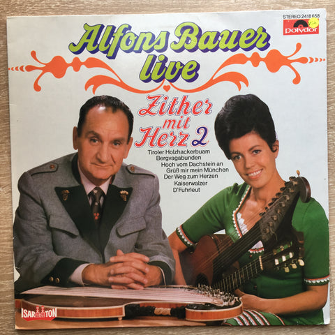 Alfons Bauer Zither Mit Herz  ‎- Vinyl LP Record - Opened  - Very-Good+ Quality (VG+) - C-Plan Audio
