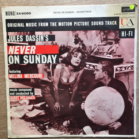 Jules Dassin's - Never On Sunday - Vinyl LP Record - Opened  - Good Quality (G)