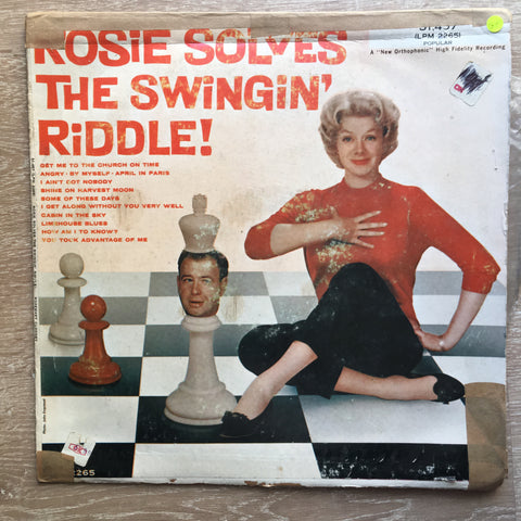 Rosemary Clooney Arranged & Conducted By Nelson Riddle ‎– Rosie Solves The Swingin' Riddle! - Vinyl LP Record - Opened  - Good Quality (G)