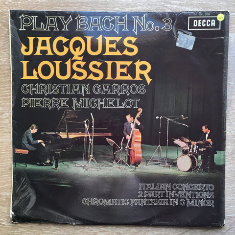 Jacques Loussier / Christian Garros / Pierre Michelot ‎– Play Bach No. 3 -  Vinyl LP Record - Very-Good+ Quality (VG+) - C-Plan Audio