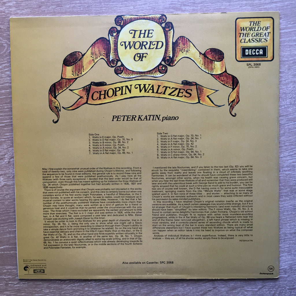 The World Of Chopin Waltzes - Vinyl LP Record - Very-Good+ Quality (VG+)