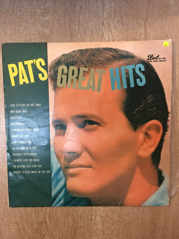 Pat Boone - Pat's Greatest Hits - Vinyl LP Record - Opened  - Very-Good Quality (VG) - C-Plan Audio