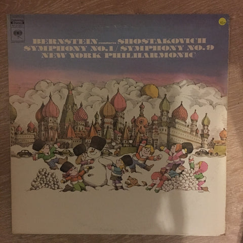 Bernstein Conducts Shostakovich ‎– Symphony No. 1 / Symphony No. 9 ‎- Vinyl LP Record - Opened  - Very-Good+ Quality (VG+)