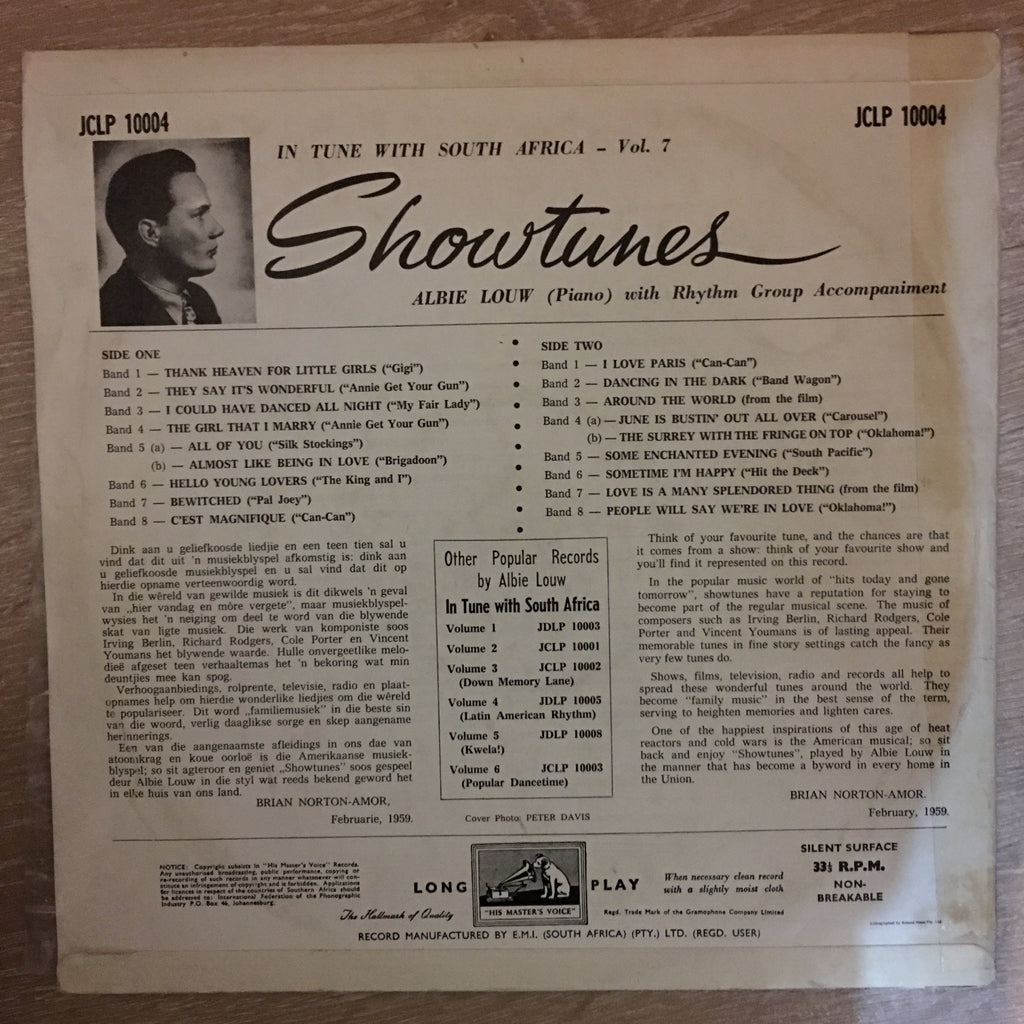 Albie Louw Plays Showtunes - in Tune With South Africa - Vinyl LP Record -  Very-Good+ Quality (VG+)