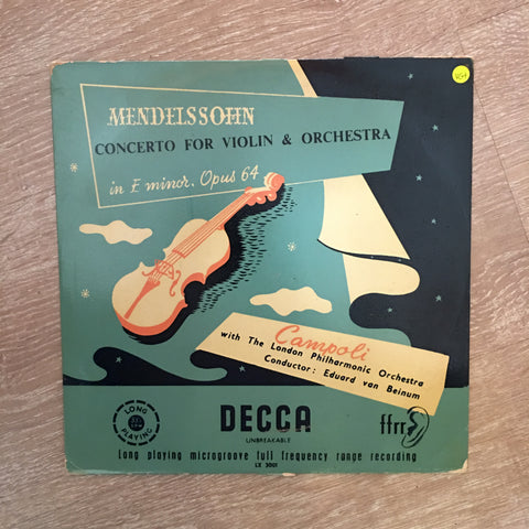 Campoli With The London Philharmonic Orchestra Conducted By Eduard van Beinum : Mendelssohn* ‎– Concerto For Violin & Orchestra In E Minor, Opus 64  - Vinyl LP Record - Opened  - Very-Good+ Quality (VG+) - C-Plan Audio