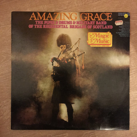 The Pipes And Drums And Military Band Of The Regimental Brigade Of Scotland ‎– Amazing Grace - Vinyl LP Record - Opened  - Very-Good- Quality (VG-)