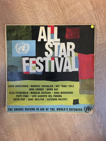 Various  - All Star Festival (Nat King Cole, Louis Armstrong, Edith Piaaf...) - Vinyl LP Record - Opened  - Very-Good Quality (VG) - C-Plan Audio