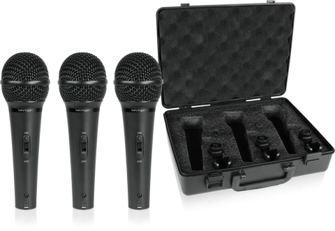 Behringer XM1800S with case - 3x Dynamic Cardioid Vocal and Instrument Microphones (Set of 3 in pack ) (Ships Next Day) - C-Plan Audio