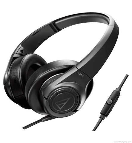 Audio Technica ATH-AX3iS SonicFuel Over-Ear Headphones (Black) for Android and Apple Devices With Inline Mic and Volume Controller