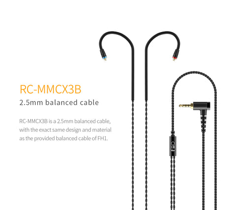 FiiO - RC-MMCX3B - 2.5mm Balanced Earphone Cable for FiiO/Shure etc.. Earphones
