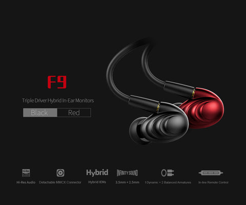 FiiO F9 Triple Driver Hybrid IEMs (Black) (Ships in 2-3 Weeks)